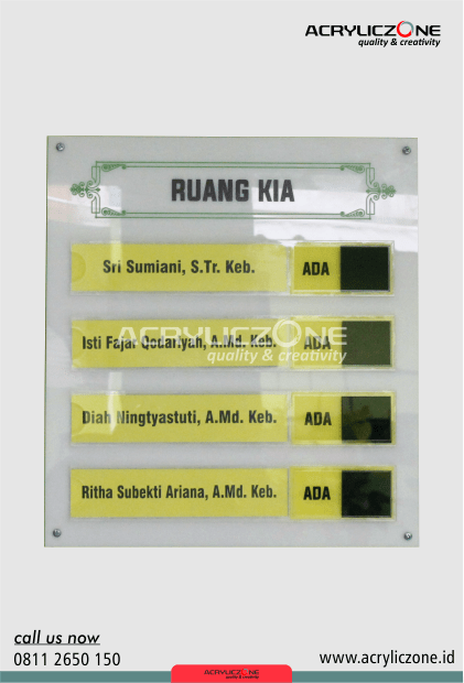 papan petunjuk dari akrilik